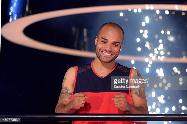 David Odonkor reacts after winning the final show of Promi Big Brother 2015 at MMC studios on August 28, 2015 in Cologne, Germany.