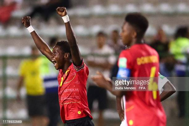 David of Angola celebrates a scored goal against Canada during the FIFA U17 Men's World Cup Brazil 2019 group A match between Angola and Canada at...
