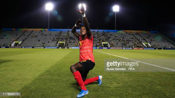 David of Angola celebrates the victory against Canada during the FIFA U17 Men's World Cup Brazil 2019 group A match between Angola and Canada at...
