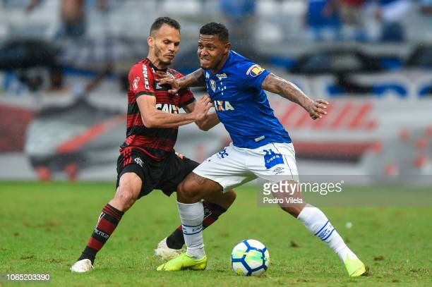 David of Cruzeiro and Rene of Flamengo battle for the ball during a match between Cruzeiro and Flamengo as part of Brasileirao Series A 2018 at...
