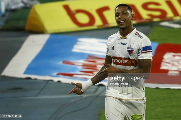 David of Fortaleza celebrates after scoring the second goal of his team during the match between Botafogo and Fortaleza as part of the Brasileirao...