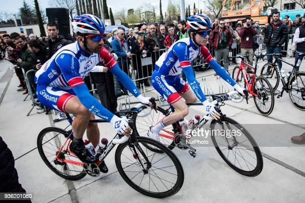 163 GAUDU David of GROUPAMA FDJ and 166 BONNET William of GROUPAMA FDJ 98th Volta Ciclista a Catalunya 2018 / Stage 3 Sant Cugat Camprodon of 153km...