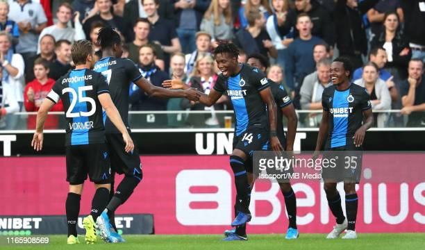 David Okereke of Club Brugge celebrates after scoring a goal during the Jupiler Pro League match between Club Brugge KV and Sint-Truidense VV at Jan...