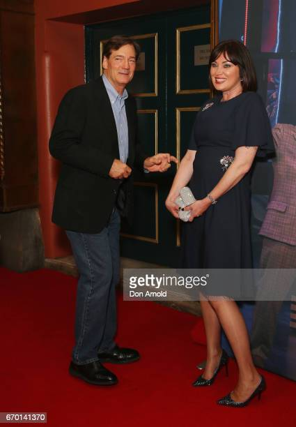 David Oldfield and Lisa Oldfield arrive for the opening night of Cyndi Lauper's Kinky Boots at Capitol Theatre on April 19 2017 in Sydney Australia