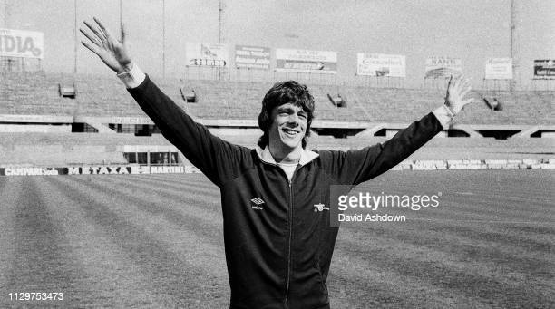 David O'Leary in the Juventus Stadium after Arsenal training in Turin for their ECW Cup Semifinal 2nd leg with Juventus 22nd April 1980