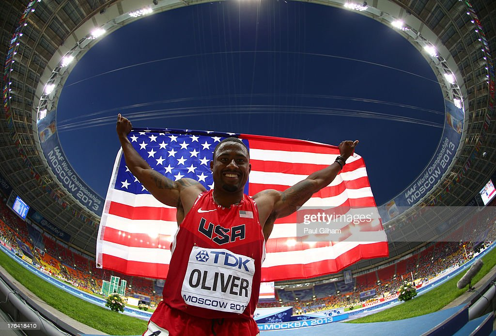 David Oliver of the United States celebrates winning gold in the Men's 110 metres hurdles final during Day Three of the 14th IAAF World Athletics Championships Moscow 2013 at Luzhniki Stadium on August 12, 2013 in Moscow, Russia.