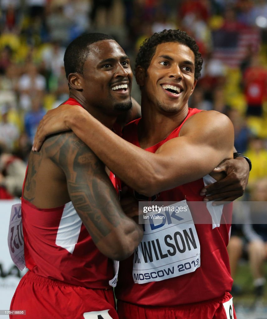 David Oliver of the United States celebrates winning gold in the Men's 110 metres hurdles final with silver medalist Ryan Wilson of United States during Day Three of the 14th IAAF World Athletics Championships Moscow 2013 at Luzhniki Stadium on August 12, 2013 in Moscow, Russia.