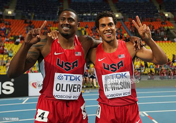 David Oliver of the United States celebrates winning gold in the Men's 110 metres hurdles final with silver medalist Ryan Wilson of United States...