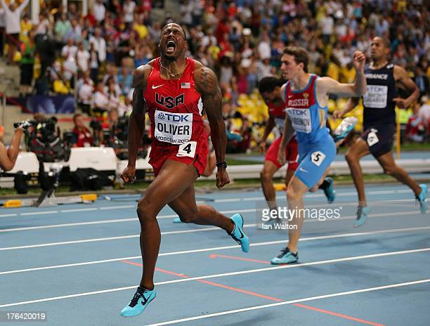 David Oliver of the United States çrosses the line to win gold in the Men's 110 metres hurdles final during Day Three of the 14th IAAF World...