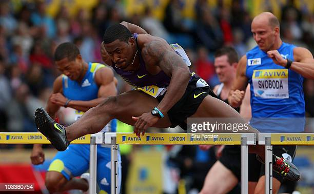 David Oliver of the USA in action in the Mens 110 metres hurdles during the Aviva London Grand Prix at Crystal Palace on August 14, 2010 in London,...