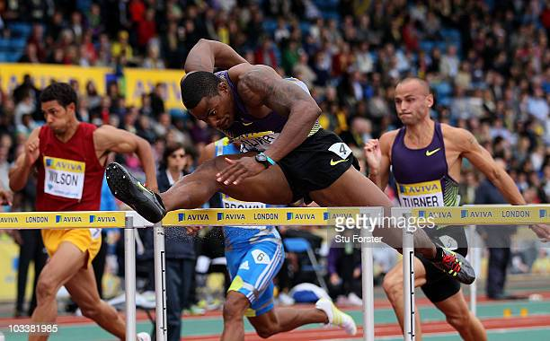 David Oliver of the USA leads Andy Turner of GB to win the Mens 110 metres hurdles during the Aviva London Grand Prix at Crystal Palace on August 14,...