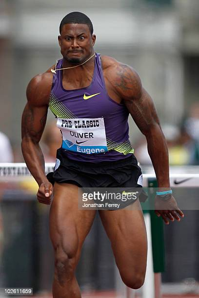 David Oliver of USA wins the 110M hurdle during the IAAF Diamond League Prefontaine Classic on July 3 2010 at Hayward Field in Eugene Oregon