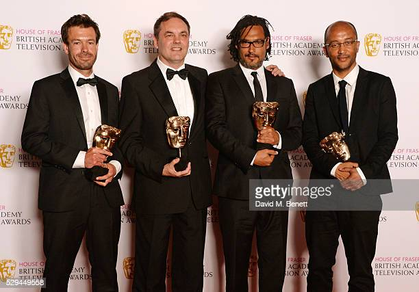 David Olusoga and fellow winners of the Specialist Factual award for Britain's Forgotten Slave Owners pose in the winners room at the House Of Fraser...