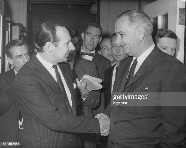 David OrmsbyGore 5th Baron Harlech the retiring British Ambassador to Washington bids farewell to US President Lyndon B Johnson at the White House in...