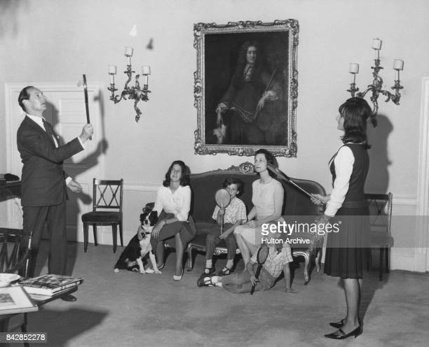 David OrmsbyGore 5th Baron Harlech with his wife and children circa 1958 LR David OmsbyGore Victoria OrmsbyGore Francis OrmsbyGore Sylvia Thomas...