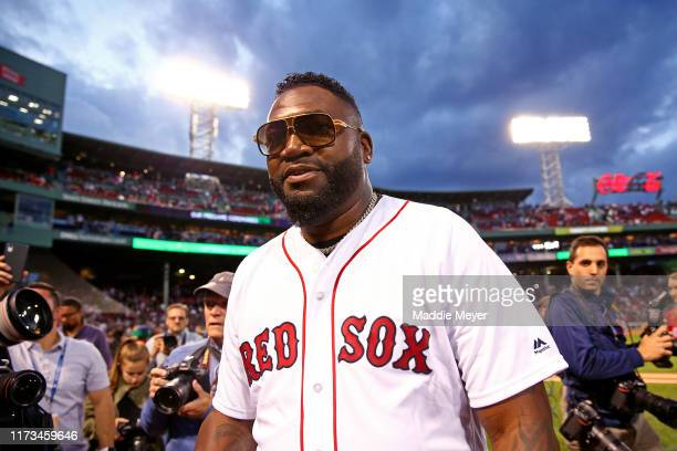 David Ortiz exits the field after throwing out the ceremonial first pitch before the game between the Boston Red Sox and the New York Yankees at...