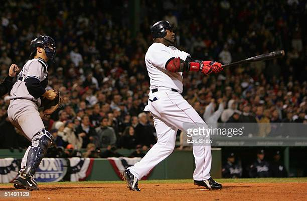 David Ortiz hits the game winning tworun home run against the New York Yankees in the twelfth inning during game four of the American League...