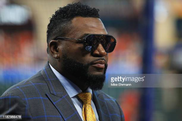 David Ortiz looks on during batting practice prior to Game Two of the 2019 World Series between the Houston Astros and the Washington Nationals at...