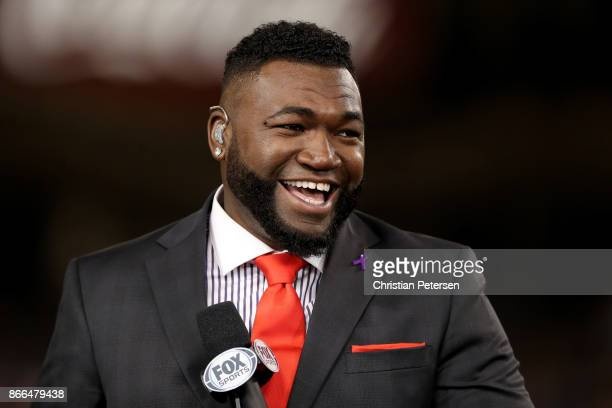 David Ortiz of Fox Sports smiles after game two of the 2017 World Series at Dodger Stadium on October 25 2017 in Los Angeles California
