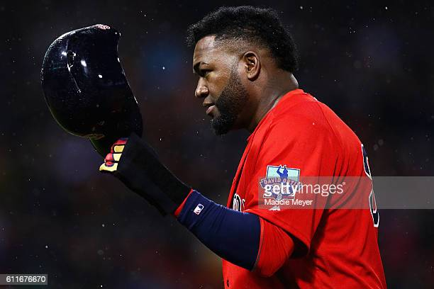 David Ortiz of the Boston Red Sox acknowledges fansduring the first inning against the Toronto Blue Jays at Fenway Park on September 30 2016 in...