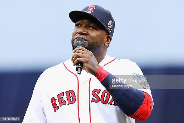 David Ortiz of the Boston Red Sox addresses the crowd during the pregame ceremony to honor his retirement before his last regular season home game at...