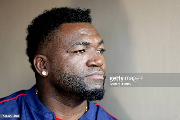 David Ortiz of the Boston Red Sox and the American League sits in the dugout after he is taken out of the game in the third inning during the 87th...