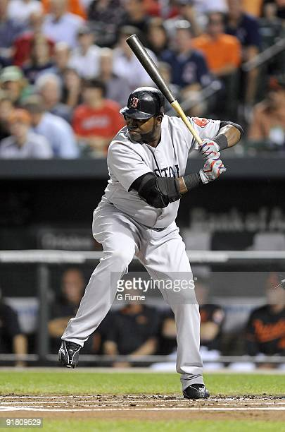 David Ortiz of the Boston Red Sox bats against the Baltimore Orioles on September 18 2009 at Camden Yards in Baltimore Maryland