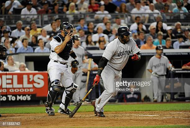 David Ortiz of the Boston Red Sox bats against the New York Yankees during an Major League Baseball game August 6 2009 at Yankee Stadium in the Bronx...