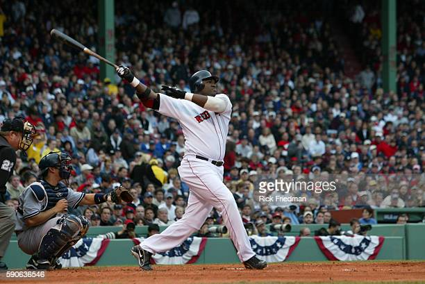 David Ortiz of the Boston Red Sox bats against the New York Yankees in game 5 of the American League Championship Series at Fenway Park The Yankees...