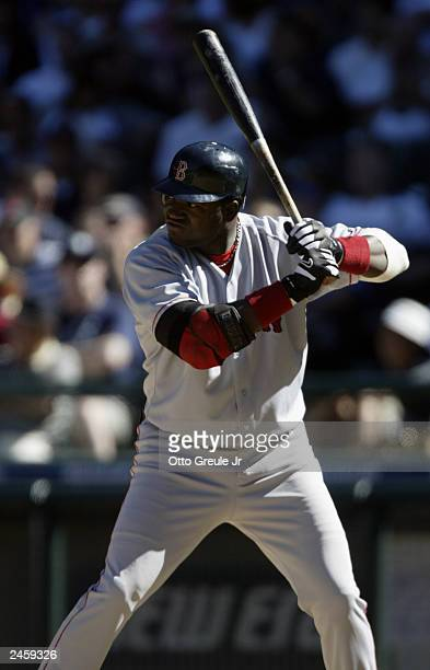 David Ortiz of the Boston Red Sox bats against the Seattle Mariners during the American League game at Safeco Field on August 17 2003 in Seattle...