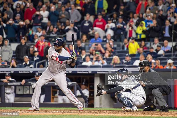 David Ortiz of the Boston Red Sox bats during the fourth inning in his final at bat in his final game at Yankee Stadium against the New York Yankees...