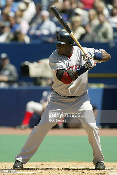David Ortiz of the Boston Red Sox bats during the game against the Toronto Blue Jays on May 16 2004 at Skydome in Toronto Ontario Canada The Blue...