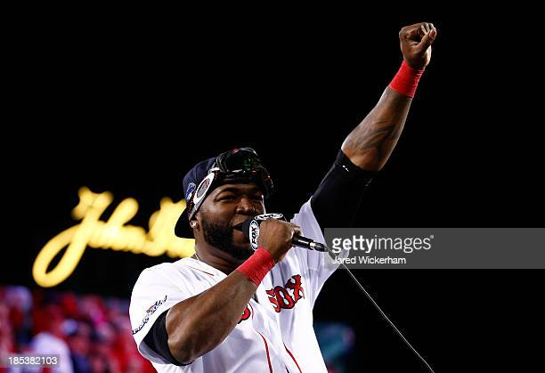 David Ortiz of the Boston Red Sox celebrates after defeating the Detroit Tigers in Game Six of the American League Championship Series at Fenway Park...