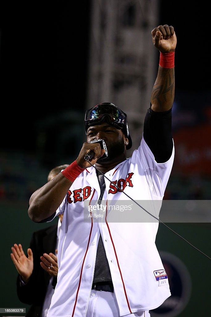 David Ortiz #34 of the Boston Red Sox celebrates after defeating the Detroit Tigers in Game Six of the American League Championship Series at Fenway Park on October 19, 2013 in Boston, Massachusetts. The Red Sox defeated the Tigers 5-2 to clinch the ALCS in six games.