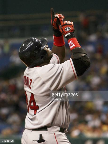 David Ortiz of the Boston Red Sox celebrates after hitting a two-run home run in the 5th inning against the Tampa Bay Devil Rays at Tropicana Field...