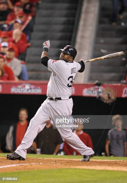 David Ortiz of the Boston Red Sox flys out in the ninth inning of Game Two of the ALDS against the Los Angeles Angels of Anaheim during the 2009 MLB...