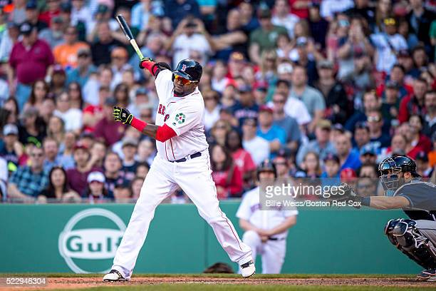 David Ortiz of the Boston Red Sox hits a double during the seventh inning of a game against the Tampa Bay Rays on April 21 2016 at Fenway Park in...