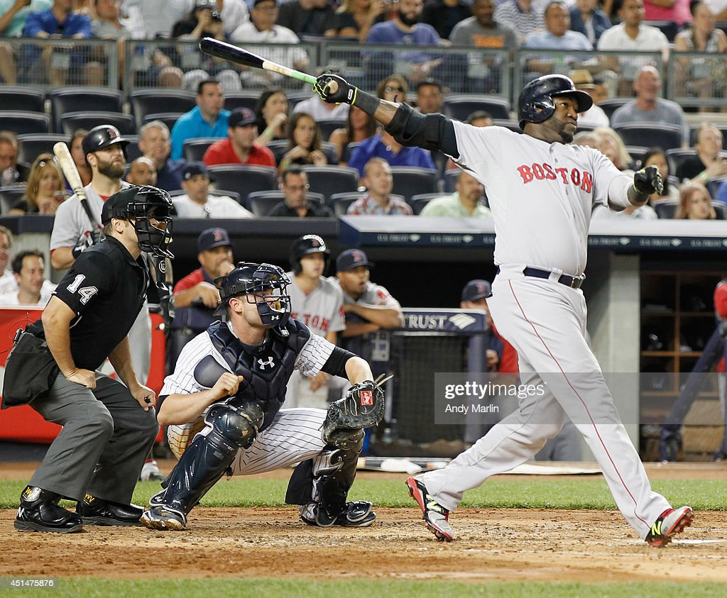 David Ortiz #34 of the Boston Red Sox hits a three-run home run in the third inning against the New York Yankees at Yankee Stadium on June 29, 2014 in the Bronx borough of New York City.
