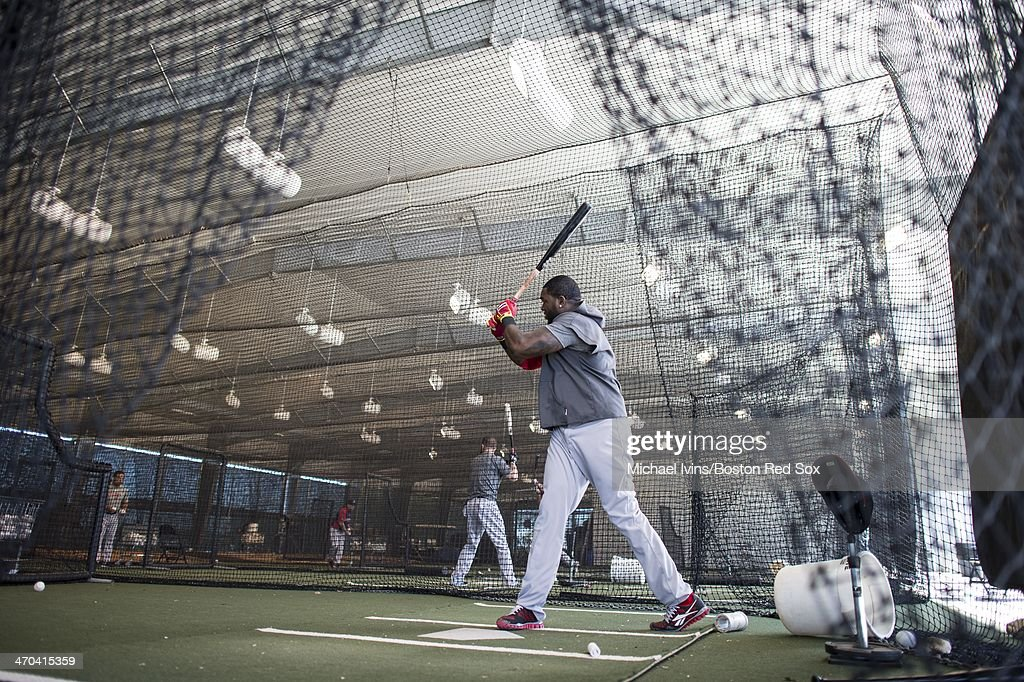 David Ortiz #34 of the Boston Red Sox hits in the cages during a Spring Training workout at Fenway South on February 19, 2014 in Fort Myers, Florida.