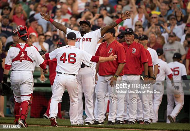 David Ortiz of the Boston Red Sox hugs Craig Kimbrel after a 46 win over the Toronto Blue Jays on June 4 2016 at Fenway Park in Boston Massachusetts