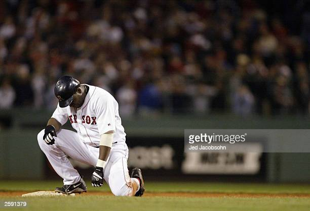David Ortiz of the Boston Red Sox is out at second base in the ninth innning of Game 5 of the 2003 American League Championship Series against the...