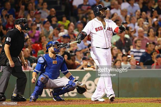 David Ortiz of the Boston Red Sox looks on after hitting his 498th career home run during the third inning against the Toronto Blue Jays at Fenway...