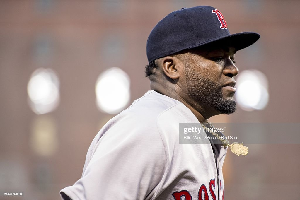 David Ortiz #34 of the Boston Red Sox looks on before a game against the Baltimore Orioles on September 20, 2016 at Oriole Park at Camden Yards in Baltimore, Maryland.