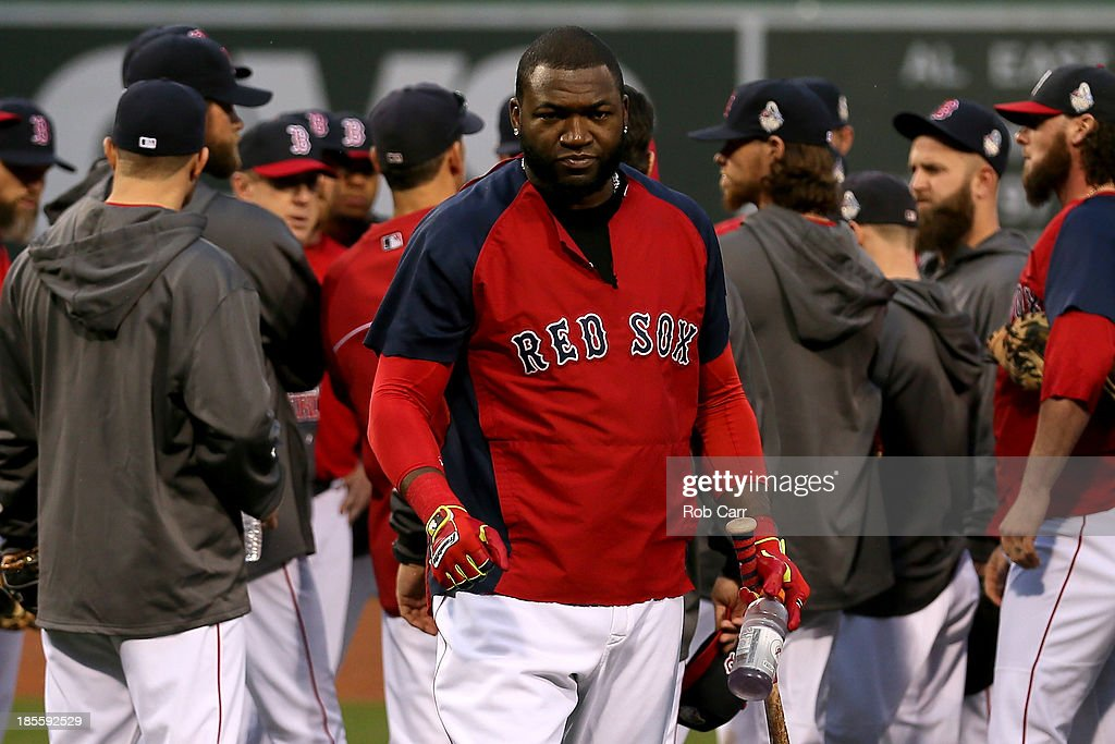 David Ortiz #34 of the Boston Red Sox looks on during team workout in the 2013 World Series Media Day at Fenway Park on October 22, 2013 in Boston, Massachusetts. The Red Sox host the Cardinals in Game 1 on October 23, 2013.