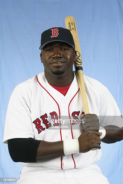 David Ortiz of the Boston Red Sox poses for a portrait during the Red Sox spring training Media Day on February 23 2003 at Ed Smith Stadium in...