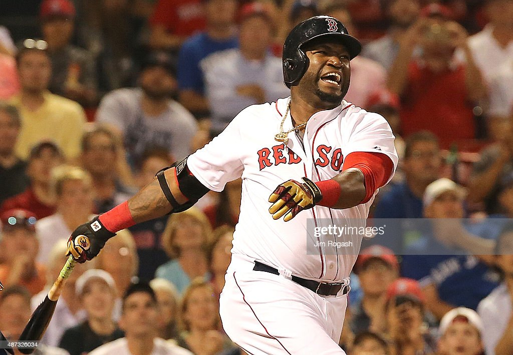 David Ortiz #34 of the Boston Red Sox reacts after a swing and a miss in the ninth inning against Toronto Blue Jays at Fenway Park on September 8, 2015 in Boston, Massachusetts.
