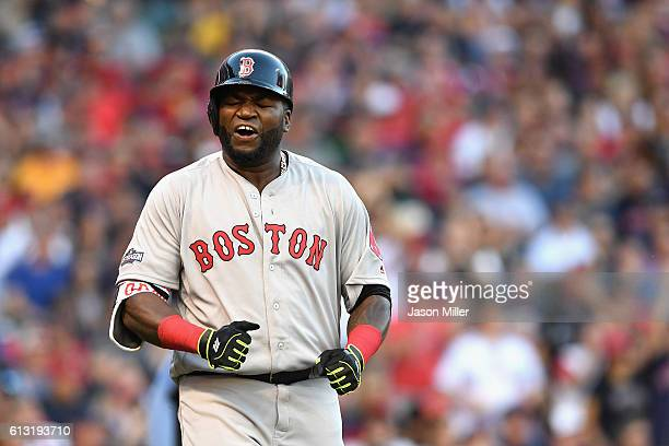 David Ortiz of the Boston Red Sox reacts after flying out in the fourth inning against the Cleveland Indians during game two of the American League...