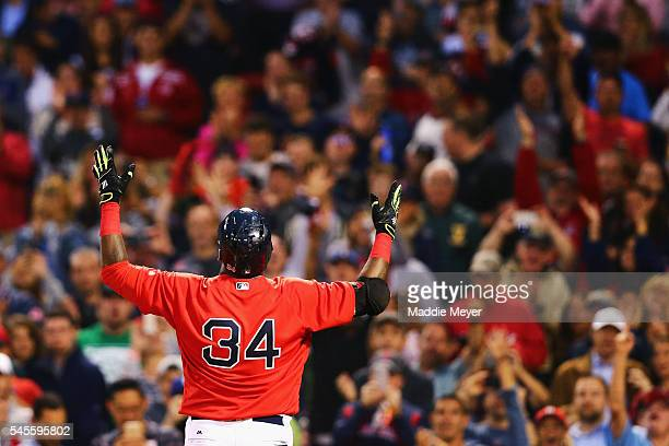 David Ortiz of the Boston Red Sox reacts after hitting a home run during the fourth inning against the Tampa Bay Rays at Fenway Park on July 8 2016...