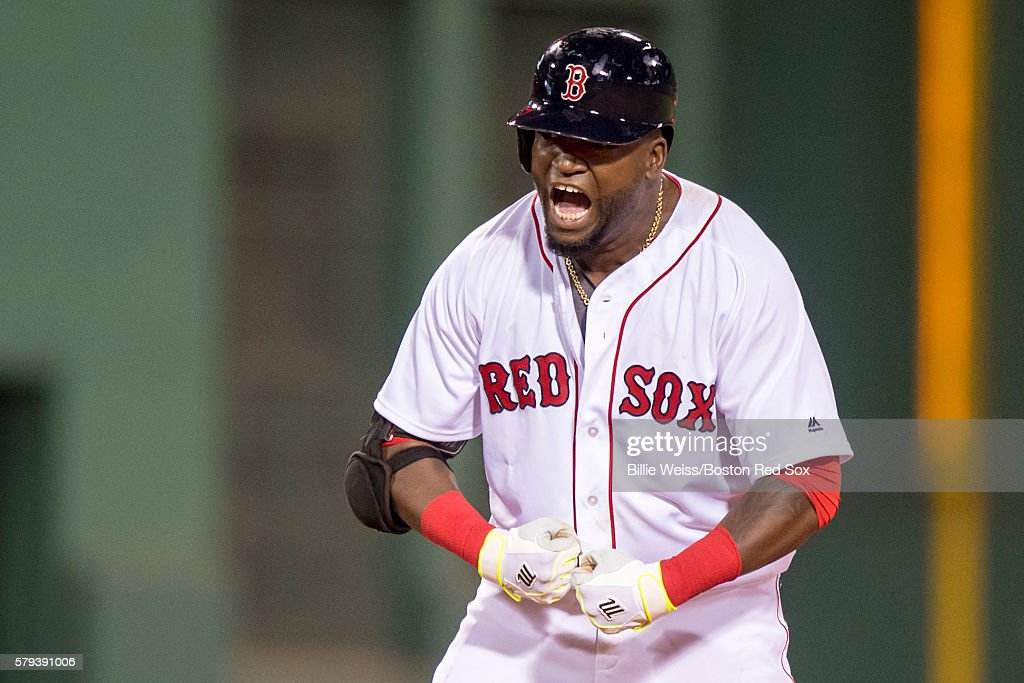 David Ortiz #34 of the Boston Red Sox reacts after hitting an RBI double during the seventh inning of a game against the Minnesota Twins on July 23, 2016 at Fenway Park in Boston, Massachusetts.