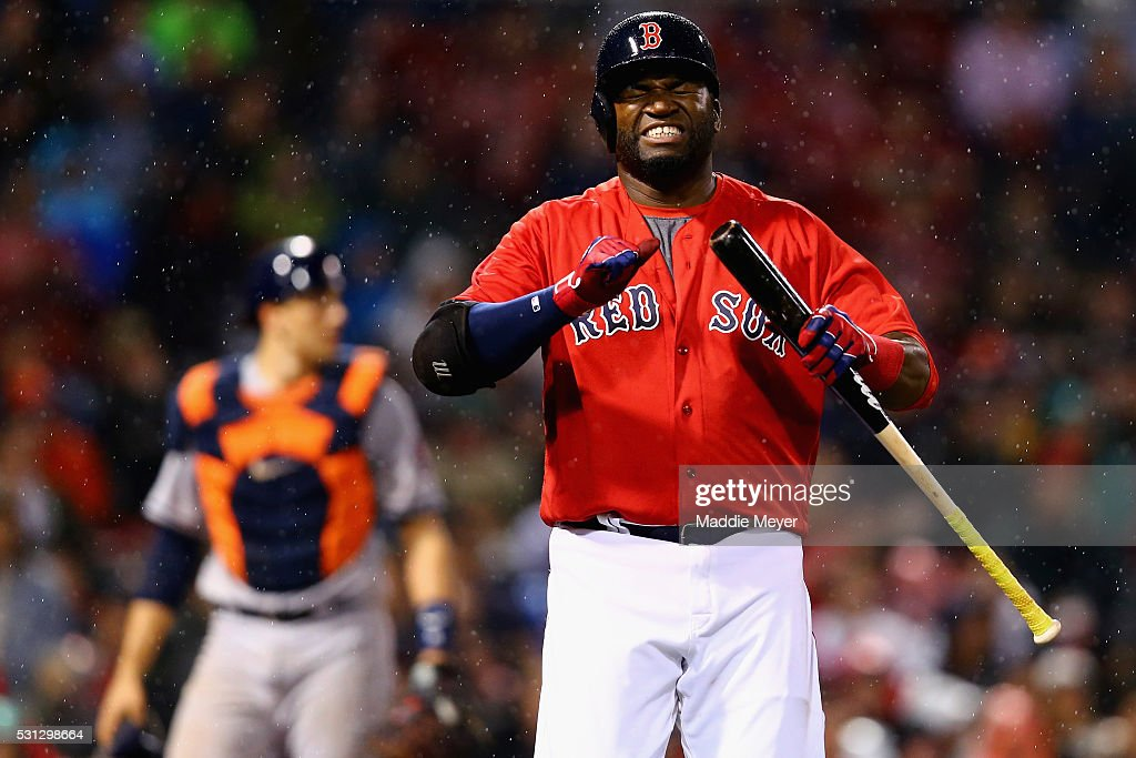 David Ortiz #34 of the Boston Red Sox reacts after striking out during the seventh inning against the Houston Astros on May 13, 2016 in Boston, Massachusetts.
